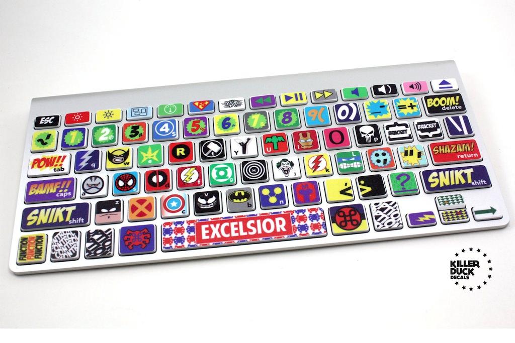 Macのキーボードをアメコミ風にするステッカー「Macbook Keyboard Super Hero Skin」がetsy.comで販売されています
