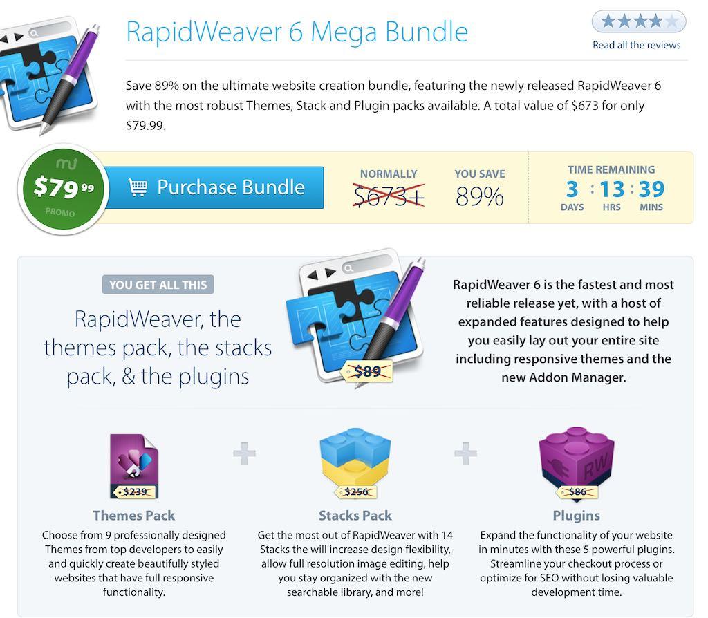 MacUpdateにて「RapidWeaver 6 Mega Bundle」が開催中 (総額より89%引き)