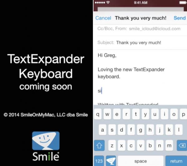 iOS 8ではTextExapnder touchがすべてのアプリで利用できるようになる