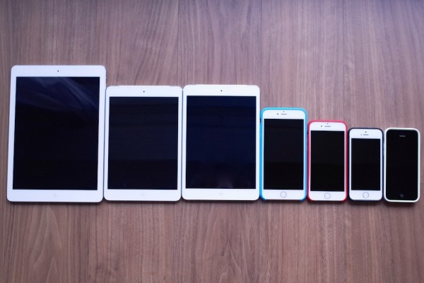 比較写真:iPhone 6・iPhone 6 Plusは他のiOSデバイスとどのぐらい大きさが異なるのか