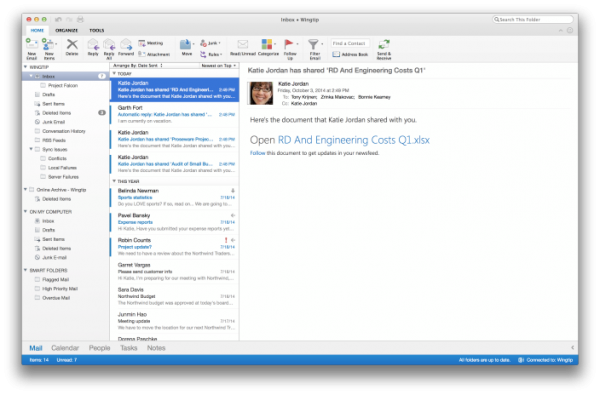 Microsoft、Outlook for Macの新バージョンを公開(次期Office for Macは2015年下半期にリリース予定)