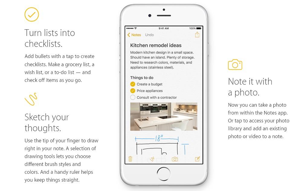 iPhone の新しいメモアプリの多機能化は素晴らしい (iOS 9)