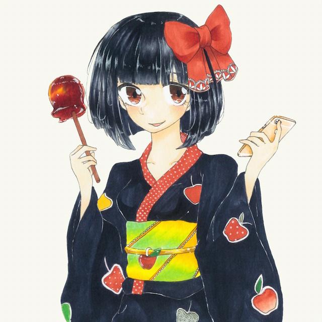 「オーケーマック」2015年7月のイラストは「夏祭りのりんごあめ」