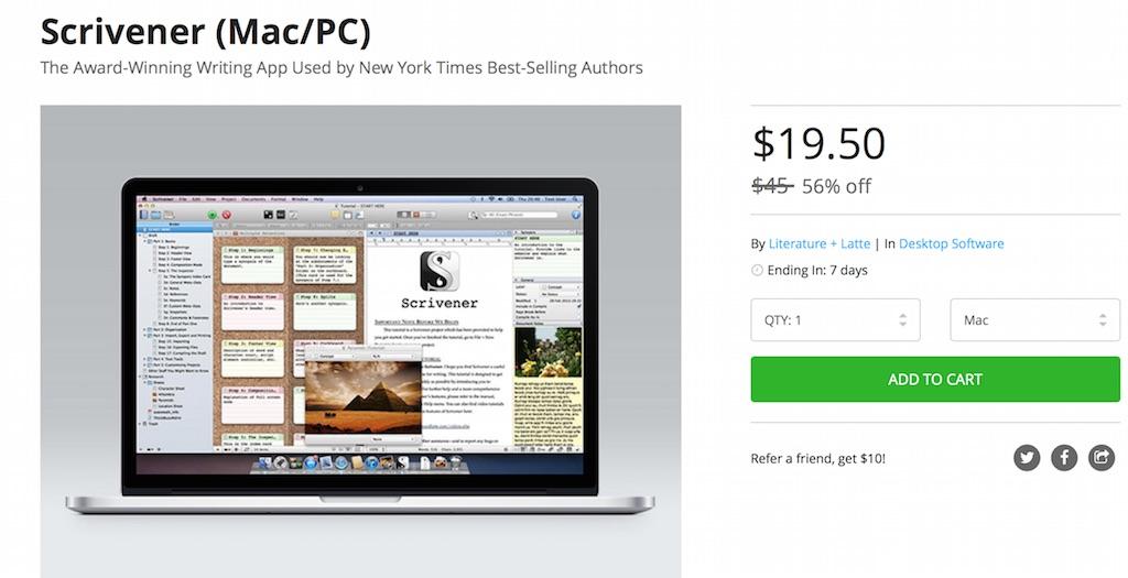 高機能エディタ「Scrivener」が半額の19.50 USD (約2440円)にて販売中