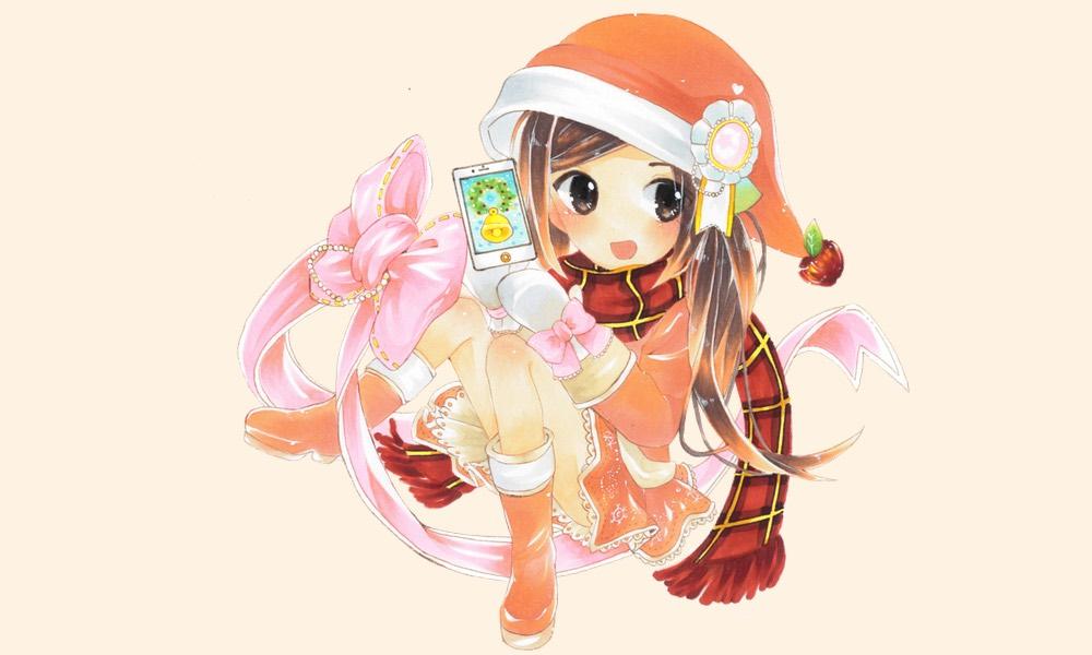 「オーケーマック」2015年12月のイラストは「iPhoneで楽しむクリスマス」